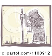 Woodcut Styled Hermit Man Walking With A Stick And Lantern
