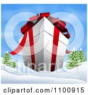 Clipart 3d Giant Christmas Gift Box With Red Ribbon And Bows In A Winter Landscape Royalty Free Vector Illustration
