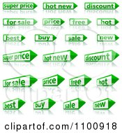 Clipart Green And White Retail Pencil Or Arrow Labels With Reflections Royalty Free Vector Illustration by dero