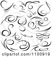 Clipart Black Tribal Swirl Calligraphic Design Elements Royalty Free Vector Illustration by dero