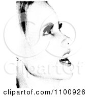 Clipart Black And White Womans Face Made Of Halftone Dots Royalty Free Vector Illustration
