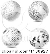 Clipart 3d White Futuristic Spheres With Black Network Dots Royalty Free Vector Illustration