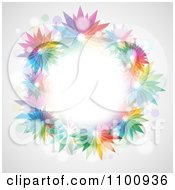 Clipart Wreath Of Colorful Vibrant Flowers And Flares On Gray Royalty Free Vector Illustration