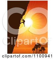Silhouetted Rock Mountain Climber Against An Orange Tropical Coastal Sunset