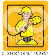 Clipart Electrician Testing A Plug In An Orange Rectangle Royalty Free Vector Illustration