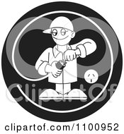Clipart Black And White Electrician Testing A Plug In A Circle Royalty Free Vector Illustration