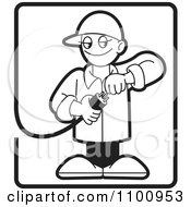 Clipart Black And White Electrician Testing A Plug In A Rectangle Royalty Free Vector Illustration