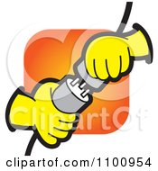 Clipart Electrican Hands Plugging In Power Plugs Royalty Free Vector Illustration