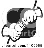 Clipart Electrican Plugging In Power Plugs Over A Black Square Royalty Free Vector Illustration