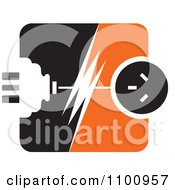 Clipart Power Plug And Socket With A Bolt In Orange Black And White Royalty Free Vector Illustration