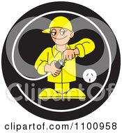 Clipart Electrician Testing A Plug In A Black Circle Royalty Free Vector Illustration