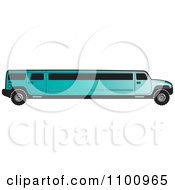 Clipart Turquoise Stretch Limo Hummer Royalty Free Vector Illustration by Lal Perera