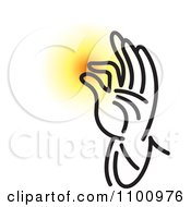 Clipart Black And White Blessing Hand With Glowing Light Royalty Free Vector Illustration