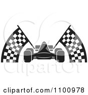 Clipart Black And White Race Car With Checkered Flags Royalty Free Vector Illustration by Lal Perera