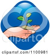 Clipart Hand Holding A Plant In Soil Over A Blue Diamond Royalty Free Vector Illustration
