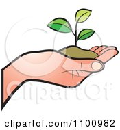 Clipart Human Hand Holding A Plant In Soil Royalty Free Vector Illustration by Lal Perera #COLLC1100982-0106