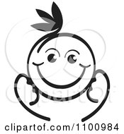 Clipart Happy Black And White Baby Royalty Free Vector Illustration