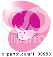 Clipart Surprised Baby In Pink Heart Royalty Free Vector Illustration