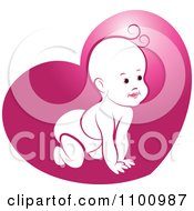 Clipart Crawling Baby In Pink Heart Royalty Free Vector Illustration