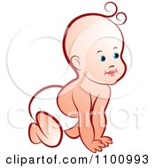 Clipart Happy Crawling Baby Royalty Free Vector Illustration