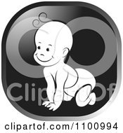 Clipart Happy Crawling Baby In A Black And Gray Square Royalty Free Vector Illustration