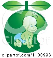 Clipart Crawling Baby In Green Fruit Royalty Free Vector Illustration