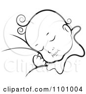 Clipart Black And White Sleeping Baby Royalty Free Vector Illustration by Lal Perera