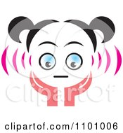Clipart Surprised Girl Holding Her Hands Up To Her Face Royalty Free Vector Illustration