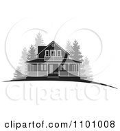 Clipart Grayscale Farm House With Woods Royalty Free Vector Illustration by Lal Perera