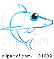 Clipart Blue Shark With A Big Eye Royalty Free Vector Illustration