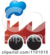 Clipart Factory On Wheels With Smoke Rising From The Chimney Royalty Free Vector Illustration