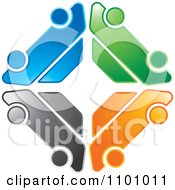 Clipart Colorful Logo Made Of Four Cars In A Diamond Royalty Free Vector Illustration