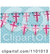 Clipart Pink And Blue Union Jack Bunting Flag Banners Over Blue And Polka Dots Royalty Free Vector Illustration by elaineitalia