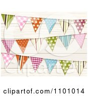 Clipart Colorful Patterned Bunting Flags Over Wood Royalty Free Vector Illustration by elaineitalia