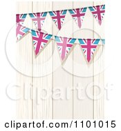 Clipart Union Jack Flag Buntings Against White Wood Royalty Free Vector Illustration by elaineitalia
