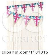 Clipart Union Jack Flag Buntings Against White Wood Royalty Free Vector Illustration by elaineitalia