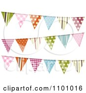 Clipart Colorful Patterned Bunting Flags On White Royalty Free Vector Illustration