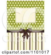 Retro Invitation Background With A Brown Bow And Ribbon Over Polkda Dots On Green With Stripes