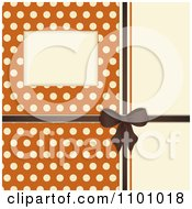 Retro Invitation Background With A Brown Bow And Ribbon Over Polkda Dots On Orange