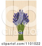 Clipart Bunch Of Lavender Over Wood Panels Royalty Free Vector Illustration by elaineitalia
