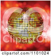 Clipart 3d Golden Sparkly Disco Ball Over Red With Flares Royalty Free Vector Illustration