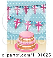 Clipart 3d Birthday Cake With Hpink Frosting And Union Jack Buntings Over Polkda Dots Royalty Free Vector Illustration by elaineitalia