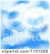 Clipart Sun Shining Through Puffy Clouds In A Blue Sky Royalty Free Vector Illustration