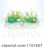 Clipart Butterflies Over Spring Daisies And Grass With A Reflection Royalty Free Vector Illustration by MilsiArt #COLLC1101027-0110