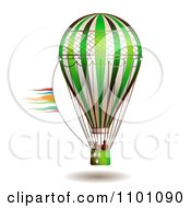 Clipart People In A Green Hot Air Balloon Royalty Free Vector Illustration by merlinul