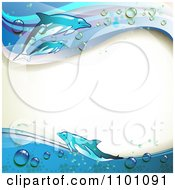 Clipart Background Of Swimming Dolphins With Blue Waves And Droplets Bordering Copyspace Royalty Free Vector Illustration by merlinul