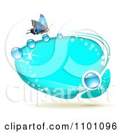 Clipart Bright Blue Oval Dewy Frame With A Butterfly Royalty Free Vector Illustration