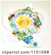 Clipart Honey Bees Over Natural Honeycombs In A Diamond Rainbow Floral Frame 2 Royalty Free Vector Illustration by merlinul