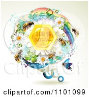 Clipart Honey Bees Over Natural Honeycombs In A Round Rainbow Floral Frame 1 Royalty Free Vector Illustration by merlinul