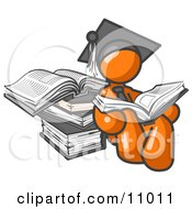 Orange Male Student In A Graduation Cap Reading A Book And Leaning Against A Stack Of Books Clipart Illustration